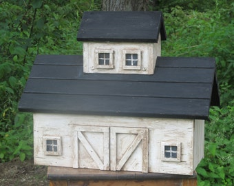 Antiqued Whitewashed Barn Birdhouse
