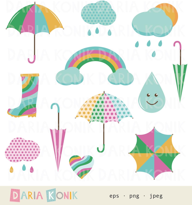 Rainy Day Clip Art: Rainy Days Clip Art Set-weather Clipart Rain Clipart