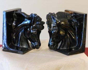 Pair of Black Ceramic Horse Head Bookends