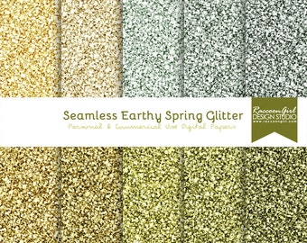 Seamless Earthy Spring Glitter Digital Paper Set - Personal & Commercial Use