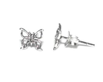 Butterly Sterling Silver Stud Earrings 6mm - Sterling Silver Butterly Post Earrings - Butterfly Earrings - Kids Silver Earrings