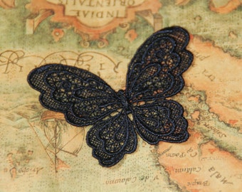 5 pcs Zakka Sew On Embroidery Venise Lace Butterfly Lace Applique, Black Embroidery Butterfly