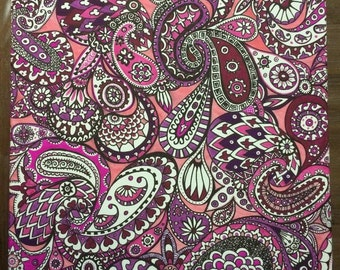Purple and Pink Paisley Canvas. 60 x 45 cm.