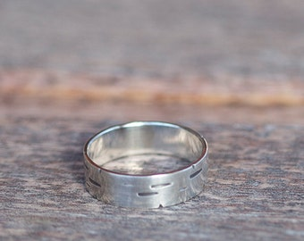 Birch Tree Bark Sterling Silver Ring K004