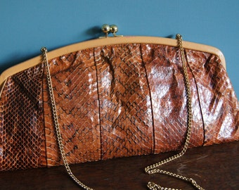 Jane Shilton GENUINE PYTHON LEATHER vintage clutch Made in England