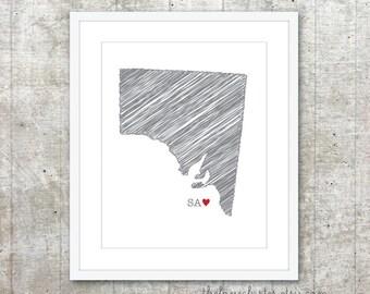 State of South Australia SA - Custom Australian State Love Poster - Slate Grey Red Heart - Australia Modern Wall Art