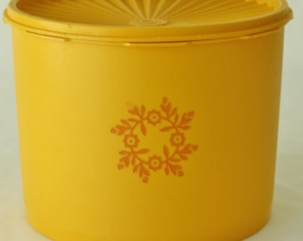 Vintage Tupperware Large Light Orange Canister