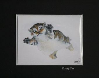 Flying Cat Blank Watercolor Greeting Cards