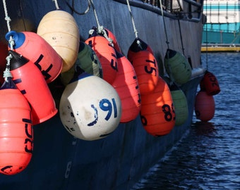 Photo of Buoys Hanging off the Side of a Boat, Nautical Wall Decor, Fine Art Photography, Boat Photo, Buoy Photo, 4x6-24x36