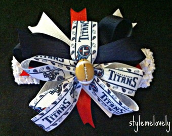 Tennessee Titans Baby Girl Boutiqe Bow Crocheted Headband