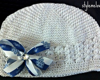 LA Dodger Baby Girl Boutique Bow Crocheted Hat