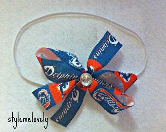 Miami Dolphins Baby Girl Boutique Bow Elastic Headband