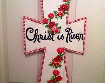 Easter Red Flower Door Hanger