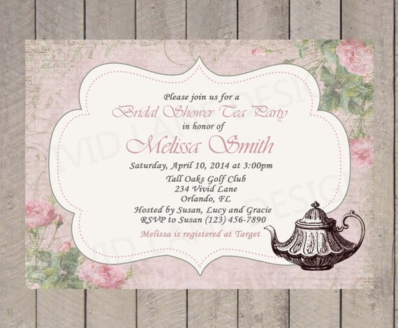 Vintage Tea Party Wedding Invitations: Items Similar To Tea Party Bridal Shower Invitation