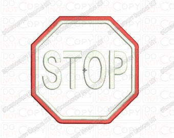 Stop Sign Road Sign Applique Embroidery Design in 3x3 4x4 and 5x7 Sizes