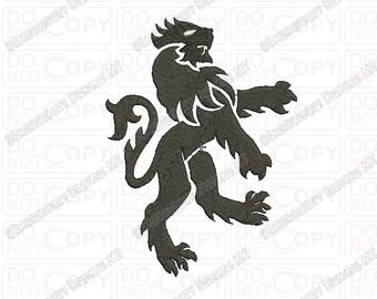 Heraldry Lion Embroidery Design in 3x3 4x4 and 5x5 Sizes