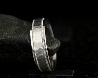 Jesper - Gentleman's Wedding Band in White Gold, 6.5mm, Hammered Finish with High Polish Edges and Milgrain, Free Shipping