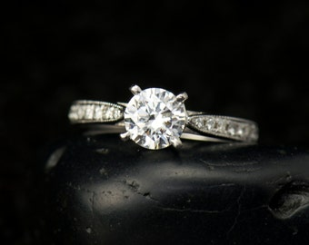 Forever One Moissanite Solitaire Engagement Ring, Classic 4-Prong Cathedral Setting with Accent Diamonds & Milgrain, Lydia
