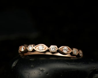 Marquise and Dot Diamond Eternity Band in 14k Rose Gold, Bezel Set Diamonds, High Polish Finish, Full Eternity, 2.8mm Wide, New Natalie