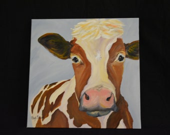 Brown Holstein Cow. ORIGINAL Painting. 20 x 20