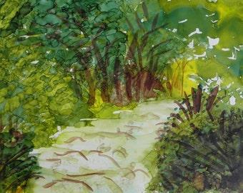 Alcohol Ink Painting 5x7 original landscape art on Yupo paper # 173