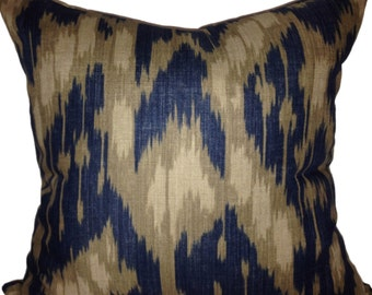 Indigo Taupe Ikat Decorative Pillow Cover - Throw Pillow - Toss Pillow - Solid Backing - Lumbar Sizes Available