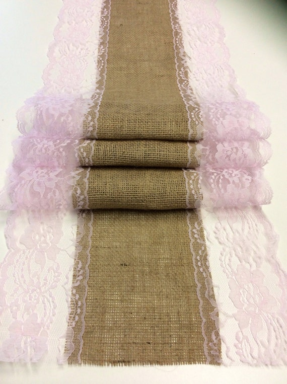 5ft 10ft burlap lace table runner with blush by for 10 foot table runner