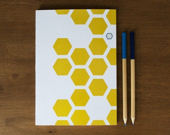 Well-Thought Notebook : Mustard Hexagons