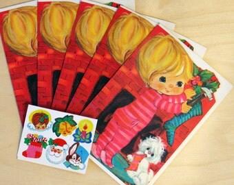 Vintage Christmas Originals Holiday Stocking Card Set of 5 Folded Cards & Envleopes and 6 Seals