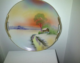 Vintage Hand Painted Eared Cake Plate Made in Japan
