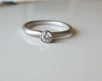 Modern Moissanite Engagement Ring Recycled Argentium Sterling Silver and White Gold Eco Friendly Ethical