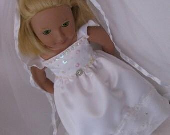 "Doll WEDDING DRESS. Doll Communion dress. Baptism dress. 18"" doll.  Fits American Girl Doll.   Costume.   dress up."