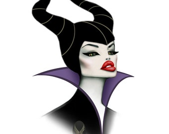 MALEFICENT inspired Angelina Jolie caricature art print