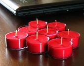Red Hot Cinnamon Scented Soy Tea Light Candles, 8 Each Tea Lights, Scented Candles, Handmade Candles, Red Candles - LuminousCandlesCo