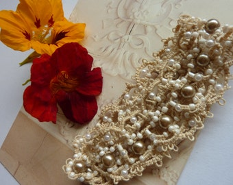 Wedding lace & pearls tatted bracelet! For bride, bridesmaids or romantic gift for the one you love!