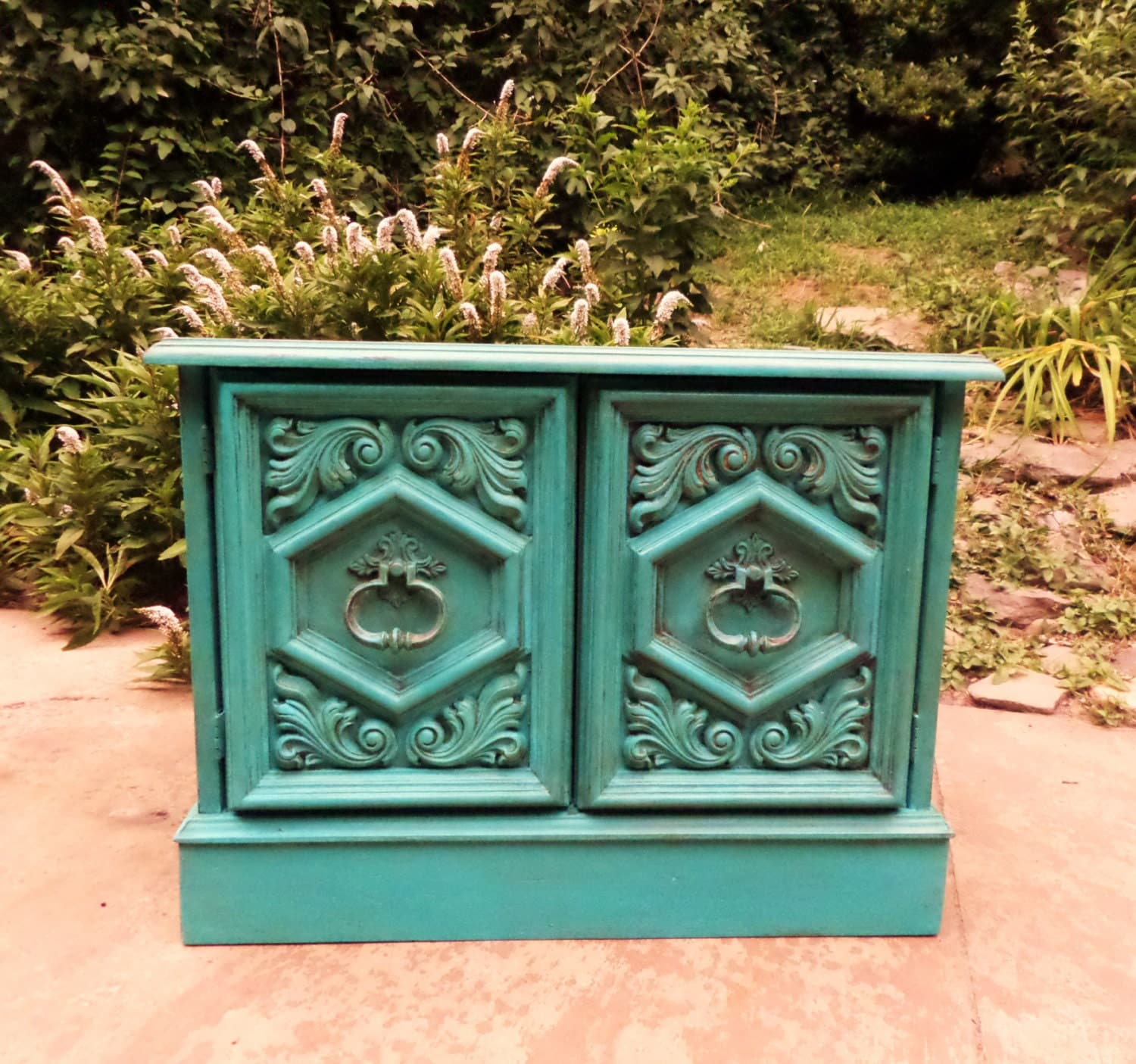 Turquoise Side Table / Painted End Table / Painted Side Table