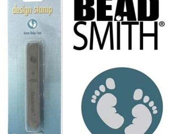 Baby Feet Metal Design Stamp 6 mm Beadsmith Newborn Footprints Infant Foot Prints, Steel Stamp