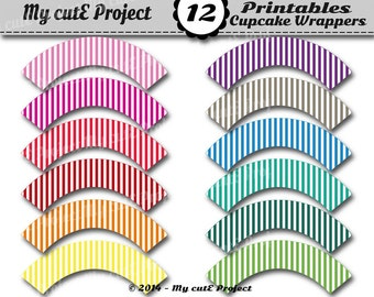 STRIPES Cupcake Wrappers Rainbow - Instant Download - Candy Bar decoration - Printable