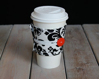 Coffee Cozy in Black & White Damask with red button