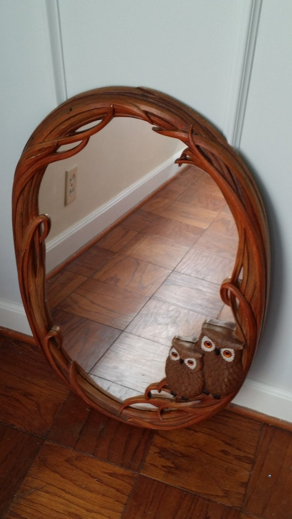 vintage owl mirror large oval rustic wall hanging syroco wall. Black Bedroom Furniture Sets. Home Design Ideas