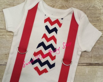 Patriotic Chevron Tie with Red Suspender, Red White and Blue Tie suspender, Fourth of July Outfit, birthday outfit, little man bodysuit
