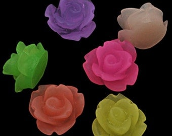 20 x Resin Rose Cabochons Frosted Flowers 11mm - Flat Back- Mixed Colours - CAB39
