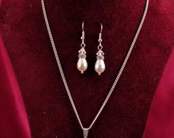 Bridal  Pearl Necklace & Earring Set  White Cream Creamrose CRYSTALLIZED™ Swarovski Elements