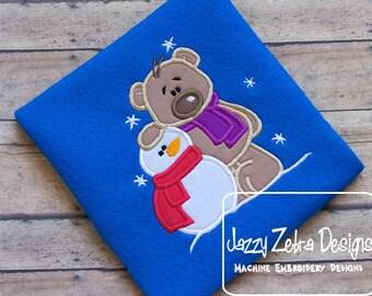 Bear with Snowman Applique Design