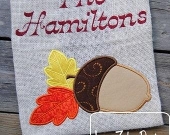 Acorn and Leaves Appliqué embroidery Design - fall Appliqué Design - acorn Applique Design - leaves Applique Design