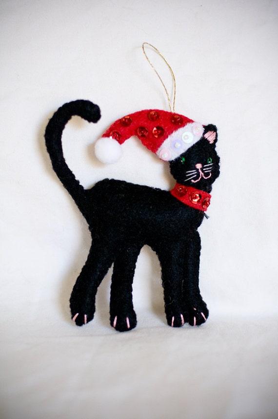 Black Felt Cat Christmas Decoration Christmas By