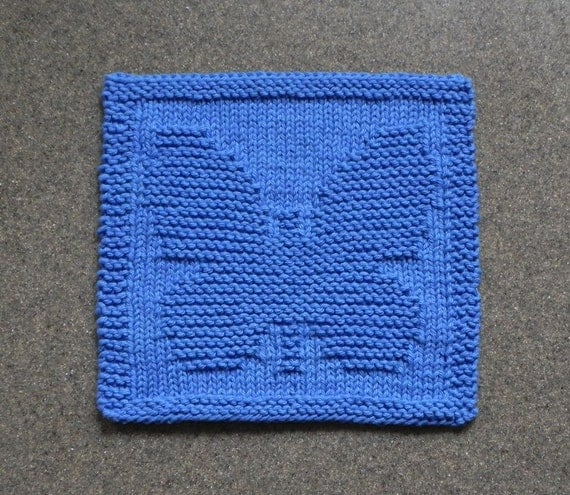Knitting Pattern Butterfly Dishcloth : BUTTERFLY Knit Dishcloth Wash Cloth BLUE 100% Cotton