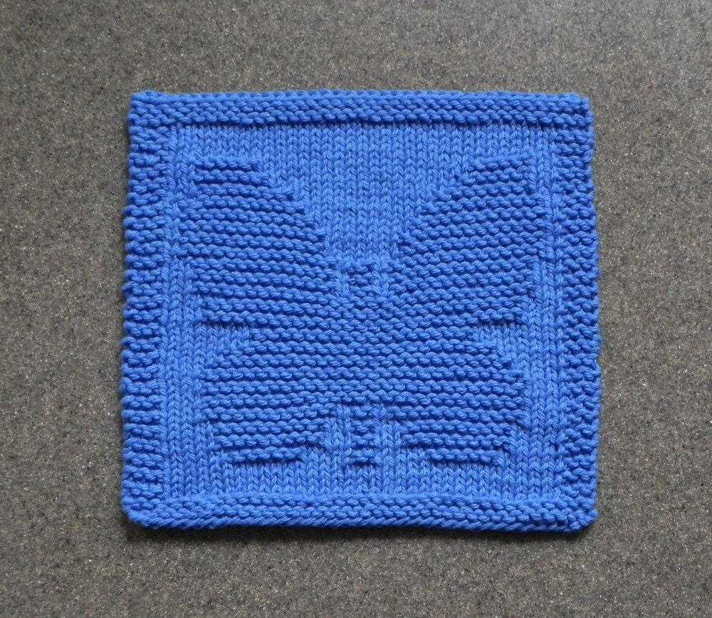 Knitting Oil Washable : Butterfly knit dishcloth wash cloth blue cotton
