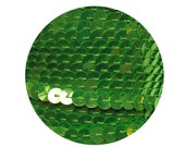 Sequin Trim 6mm Lime Green Fluorescent Metallic Flat Stitched Sequin Embellishment