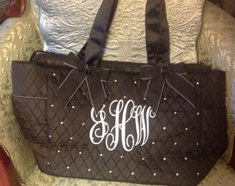 black blinged monogram  tote/diaper bag